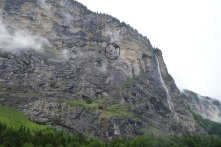 Spot the base jumper close to Lauterbrunnen falls