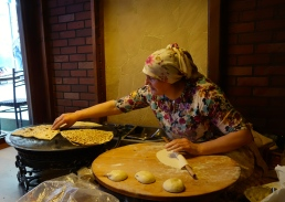 Gözleme - Turkish bread rolled out, filled with deliciousness and cooked right in front of you.